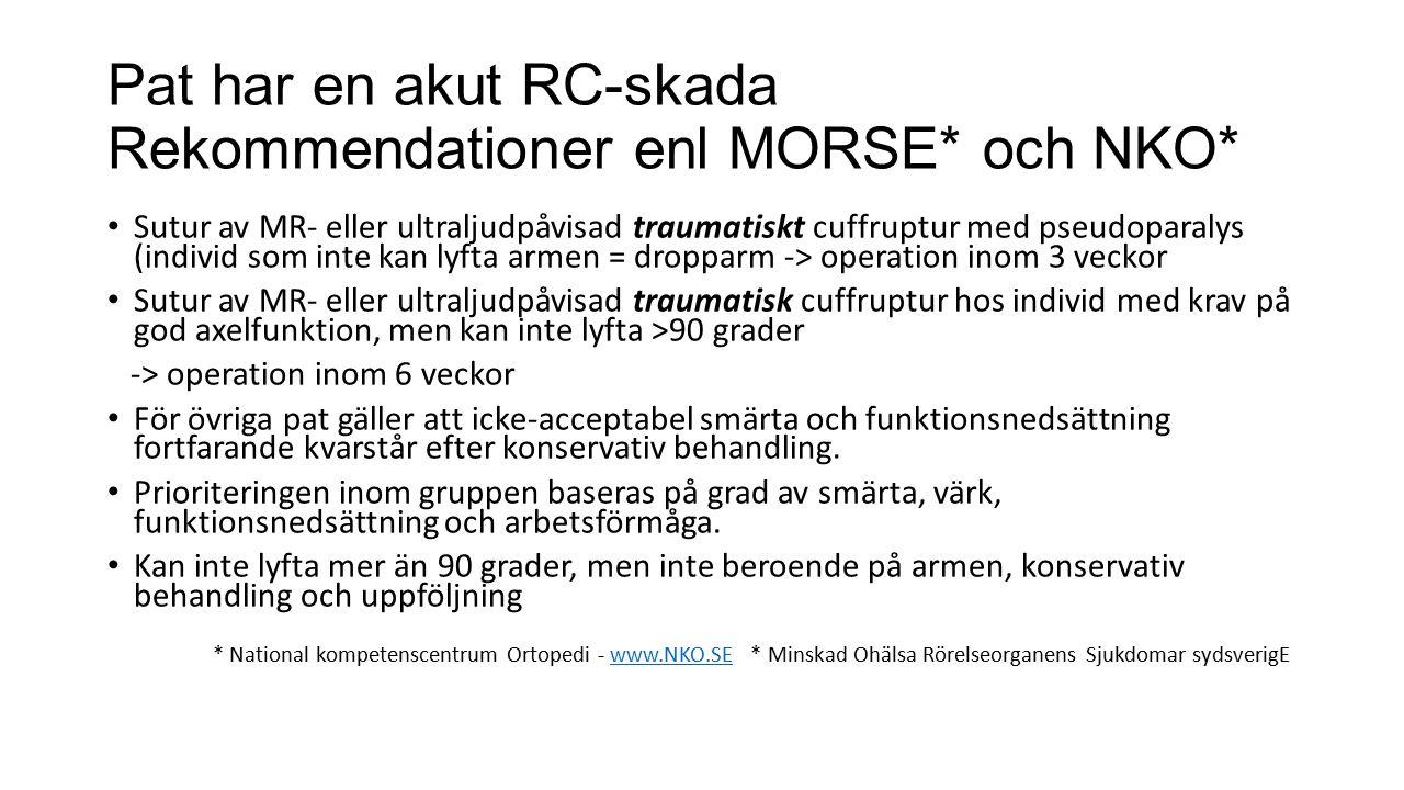 Pat har en akut RC-skada Rekommendationer enl MORSE* och NKO*