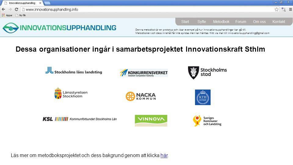 Dessa organisationer ingår i samarbetsprojektet Innovationskraft Sthlm