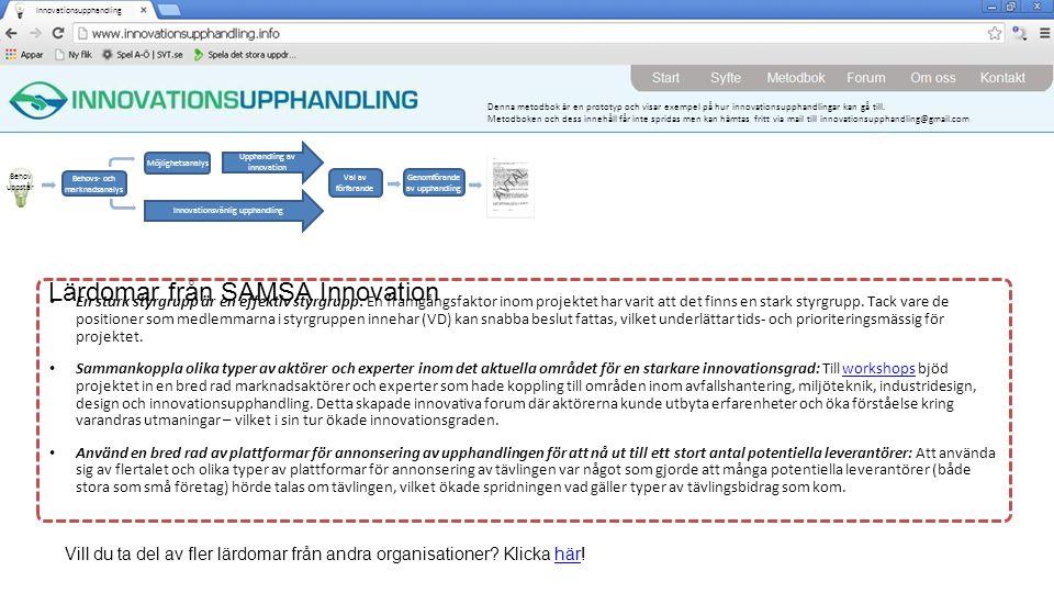 Lärdomar från SAMSA Innovation