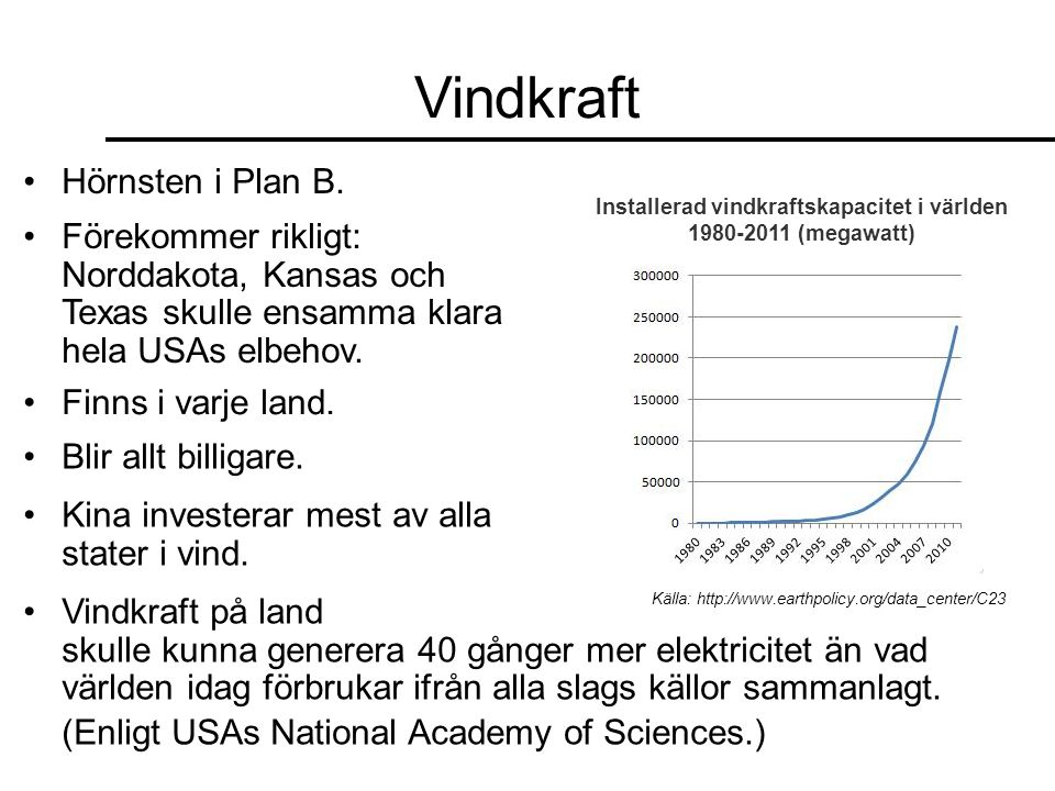 Installerad vindkraftskapacitet i världen 1980-2011 (megawatt)