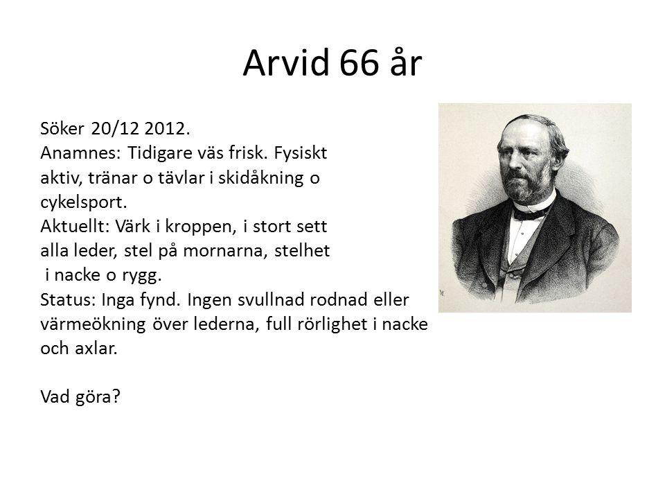 Arvid 66 år Söker 20/12 2012. Anamnes: Tidigare väs frisk. Fysiskt