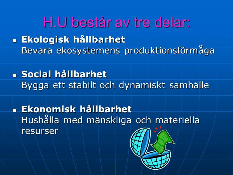 H.U består av tre delar: Ekologisk hållbarhet Bevara ekosystemens produktionsförmåga. Social hållbarhet Bygga ett stabilt och dynamiskt samhälle.
