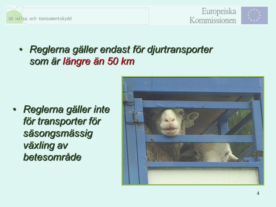 Reglerna gäller endast för djurtransporter som är längre än 50 km