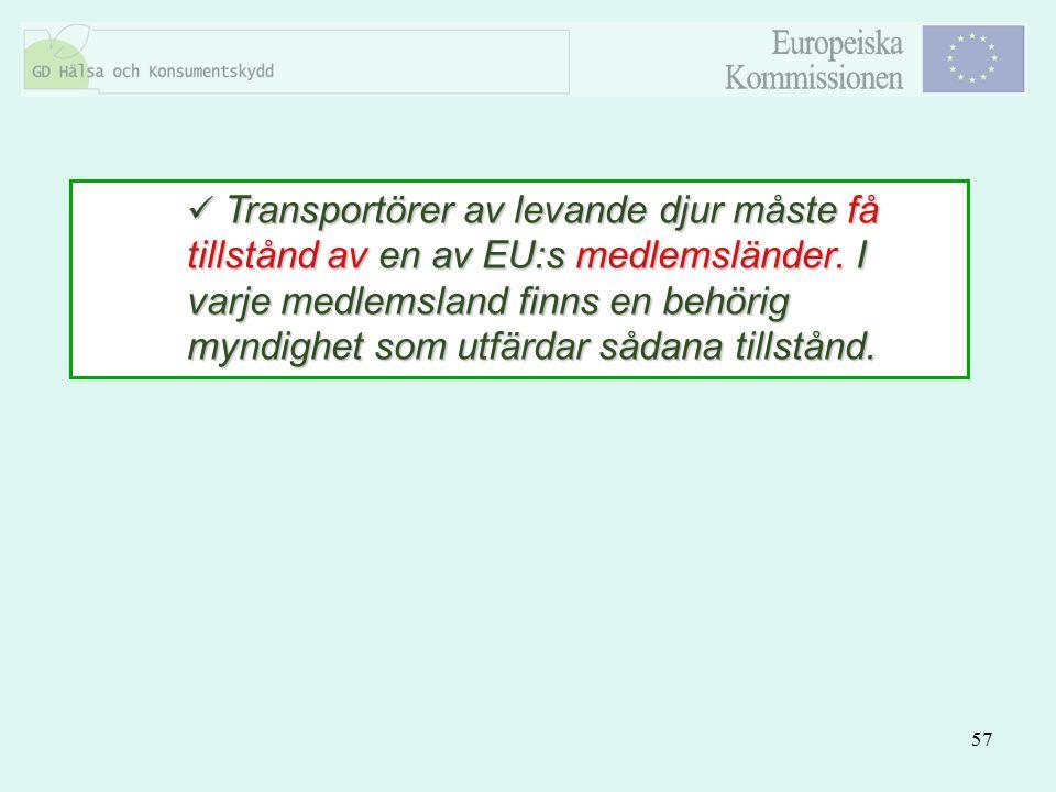 Transportörer av levande djur måste få tillstånd av en av EU:s medlemsländer.