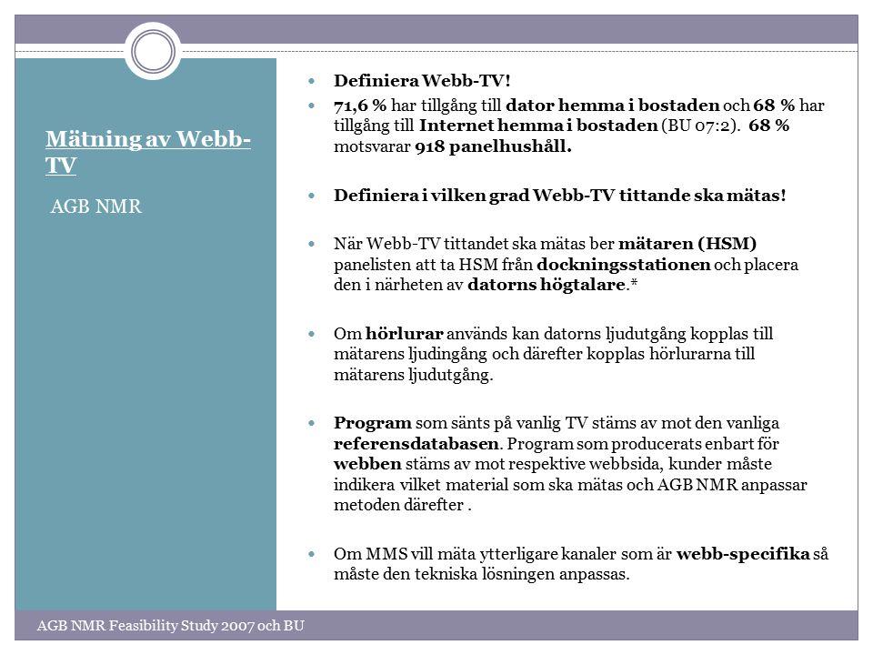 Mätning av Webb-TV AGB NMR Definiera Webb-TV!