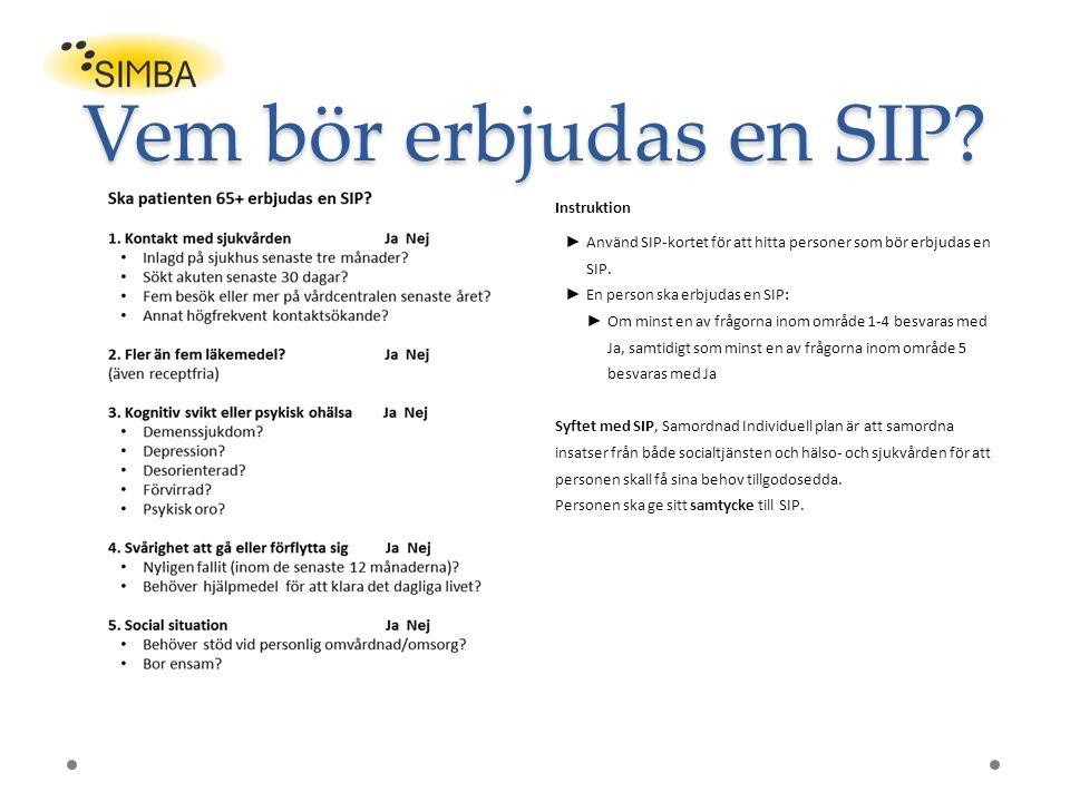 Vem bör erbjudas en SIP Instruktion