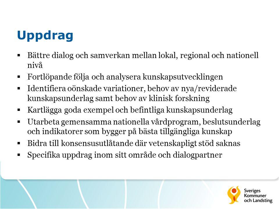 Uppdrag Bättre dialog och samverkan mellan lokal, regional och nationell nivå. Fortlöpande följa och analysera kunskapsutvecklingen.