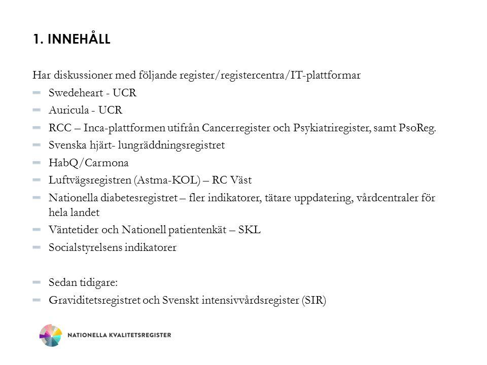 1. Innehåll Har diskussioner med följande register/registercentra/IT-plattformar. Swedeheart - UCR.