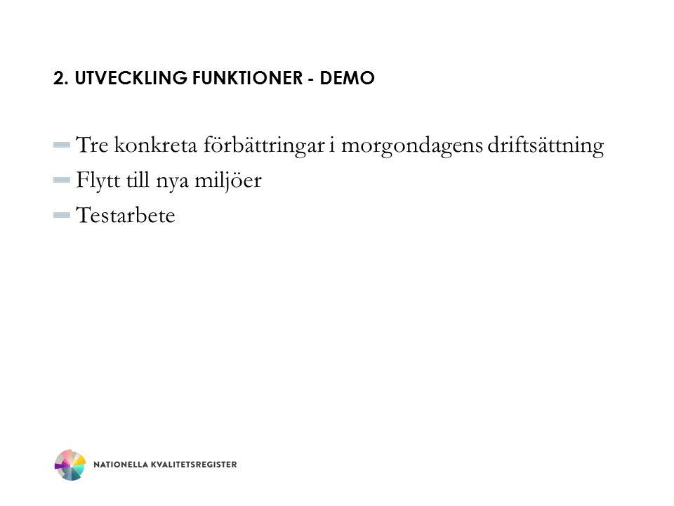 2. Utveckling funktioner - DEMo