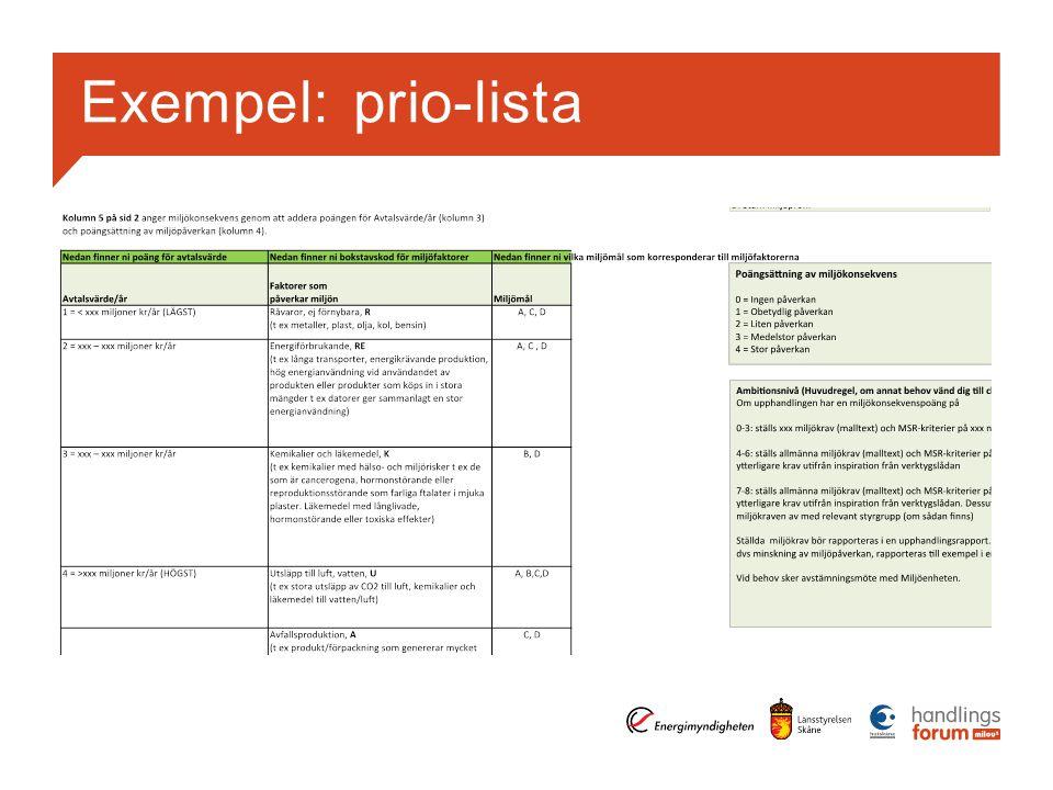 Exempel: prio-lista