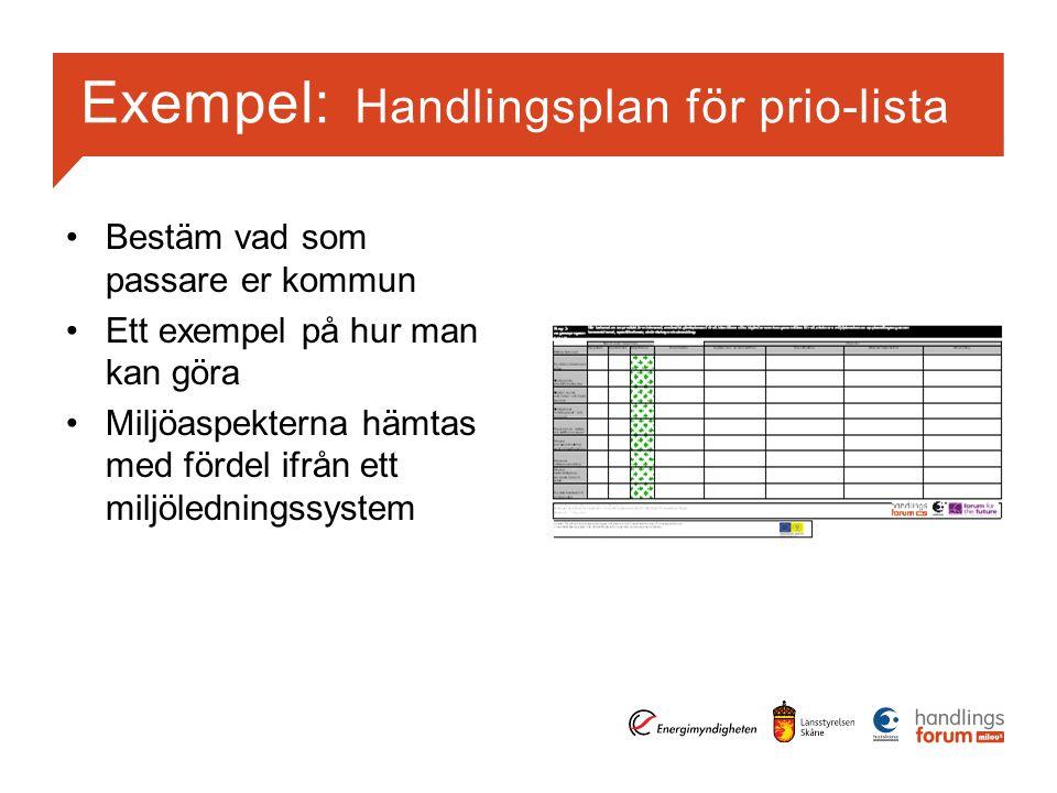 Exempel: Handlingsplan för prio-lista