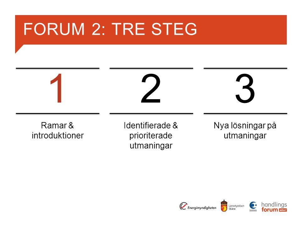 1 2 3 FORUM 2: TRE STEG Ramar & introduktioner