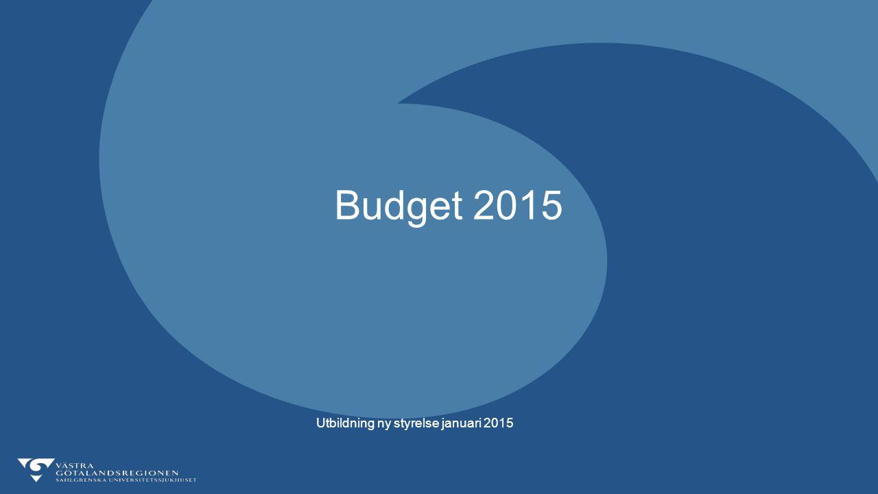 Budget 2015 Utbildning ny styrelse januari 2015