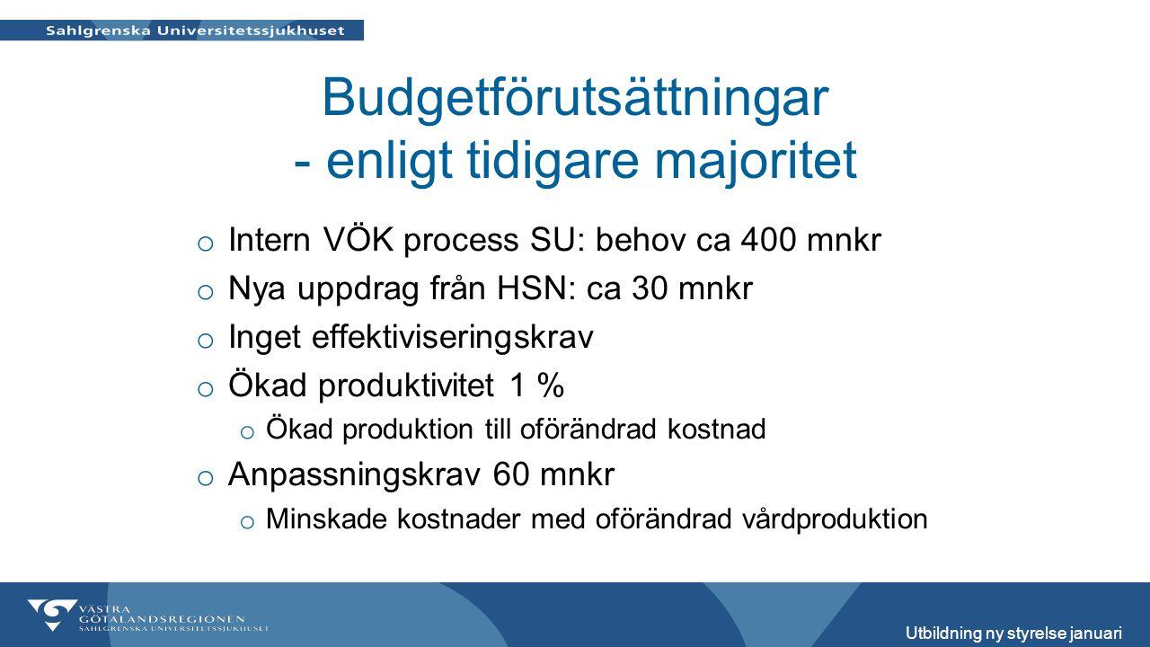 Budgetförutsättningar - enligt tidigare majoritet