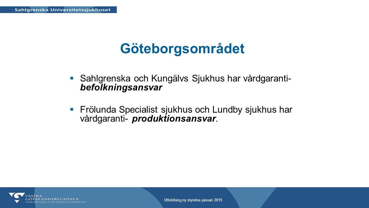 Göteborgsområdet Sahlgrenska och Kungälvs Sjukhus har vårdgaranti- befolkningsansvar.