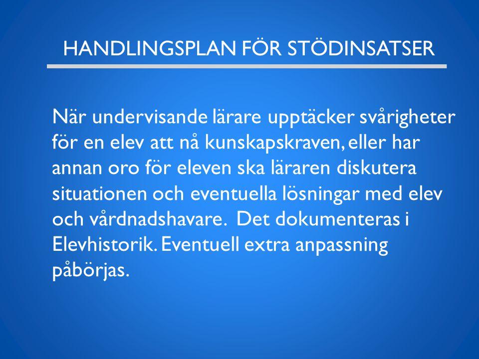 HANDLINGSPLAN FÖR STÖDINSATSER