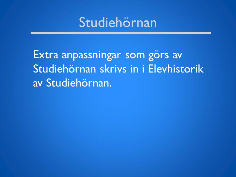 Studiehörnan Extra anpassningar som görs av Studiehörnan skrivs in i Elevhistorik av Studiehörnan.