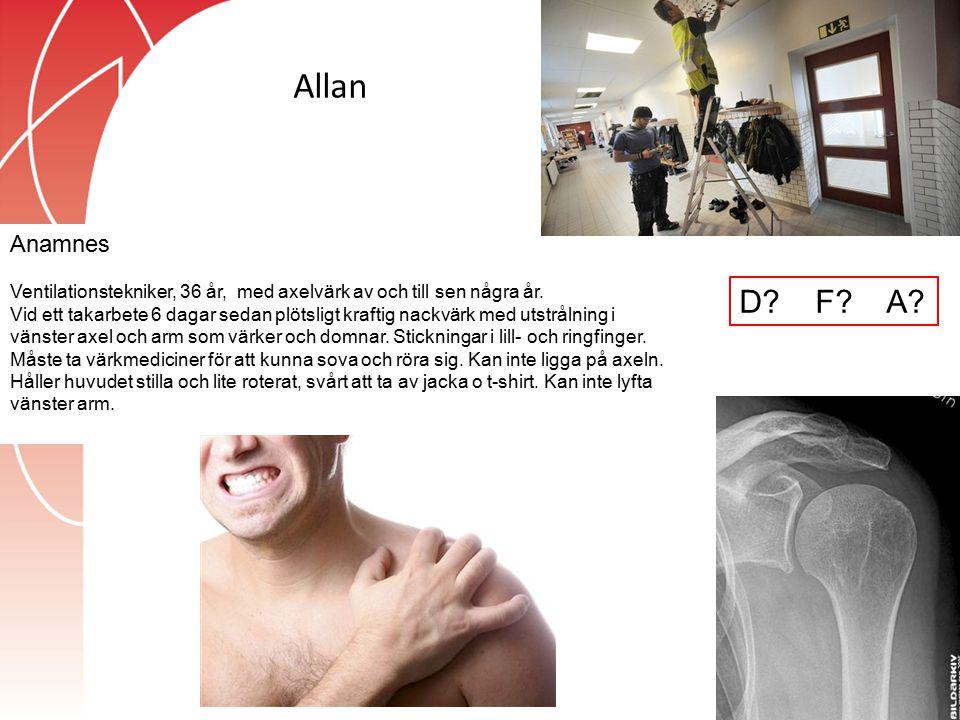 Allan Anamnes. Ventilationstekniker, 36 år, med axelvärk av och till sen några år.