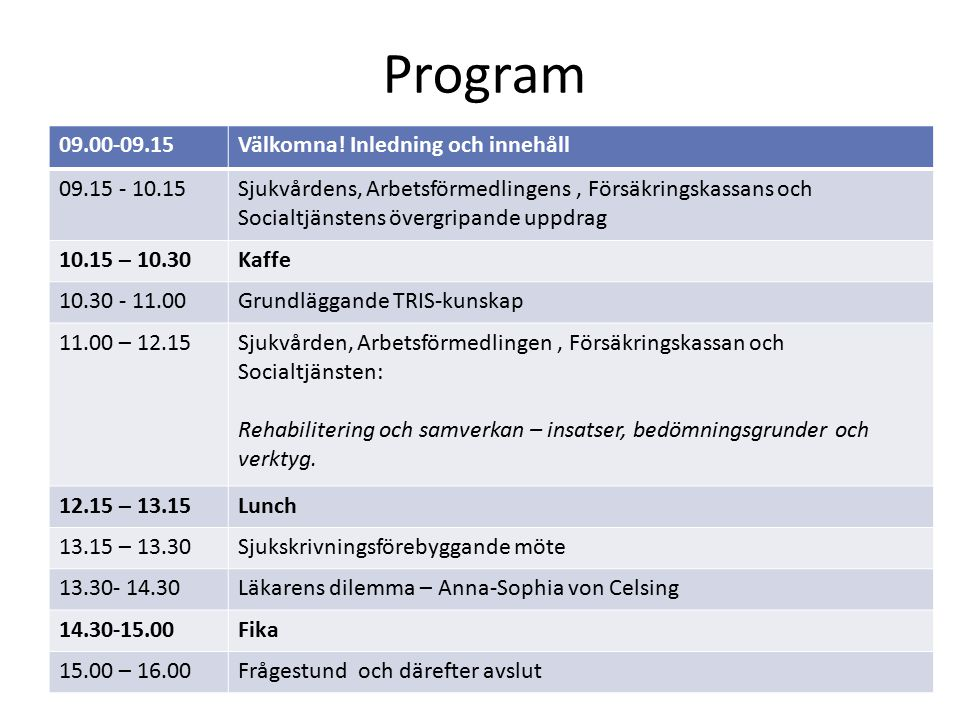 Program 09.00-09.15 Välkomna! Inledning och innehåll 09.15 - 10.15