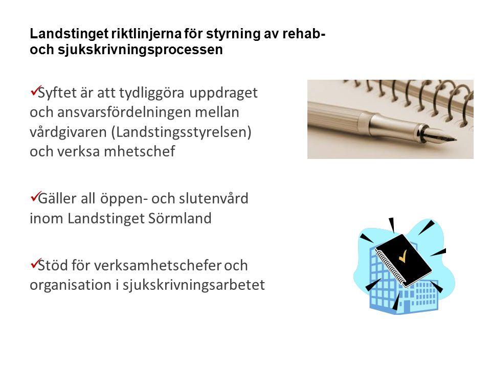 Gäller all öppen- och slutenvård inom Landstinget Sörmland
