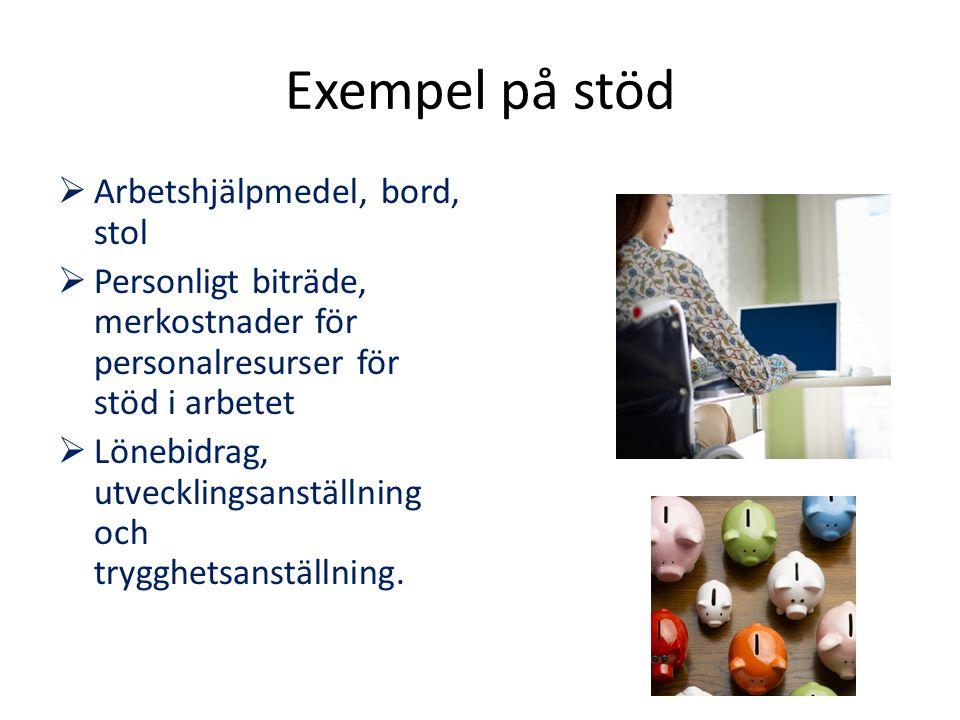 Exempel på stöd Arbetshjälpmedel, bord, stol