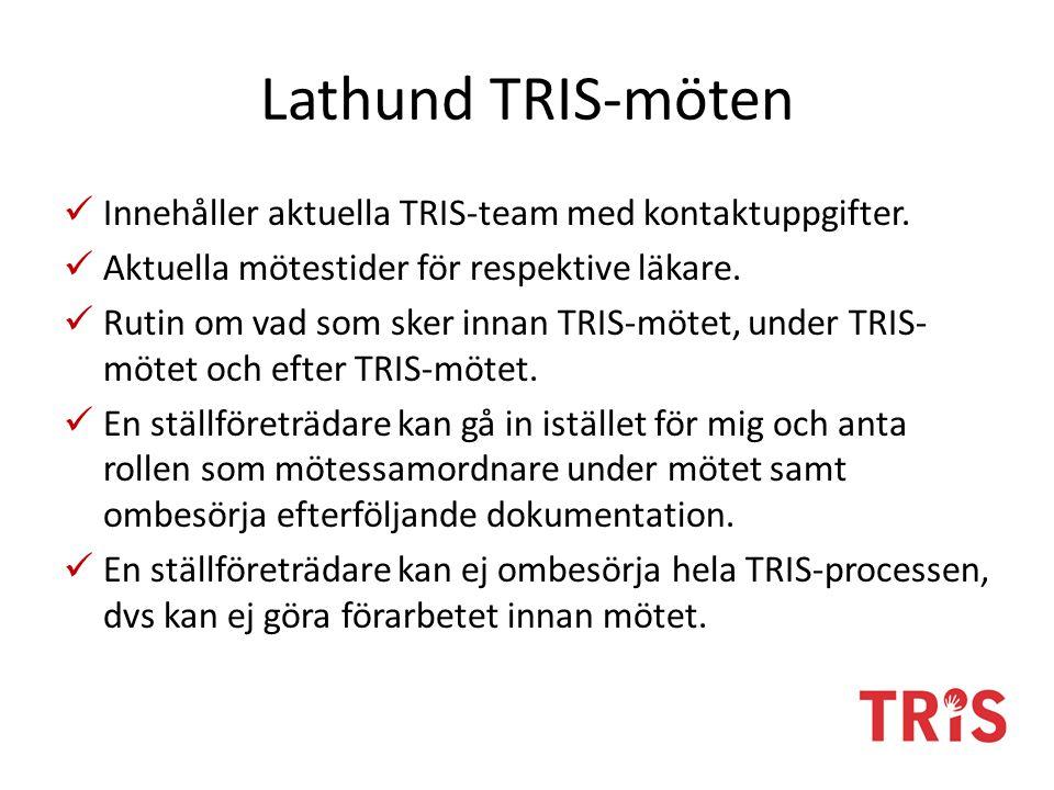 Lathund TRIS-möten Innehåller aktuella TRIS-team med kontaktuppgifter.