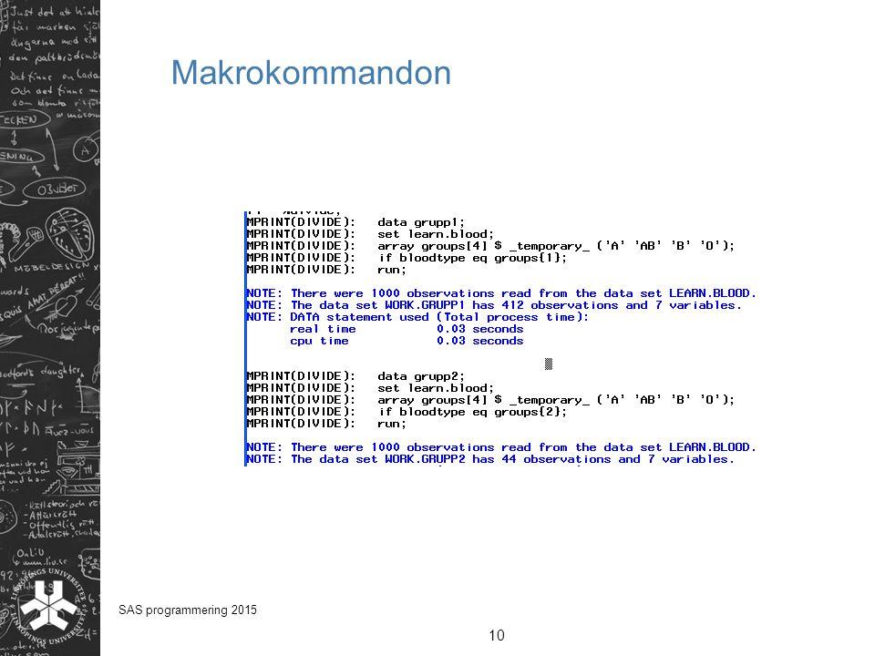 Makrokommandon SAS programmering 2015