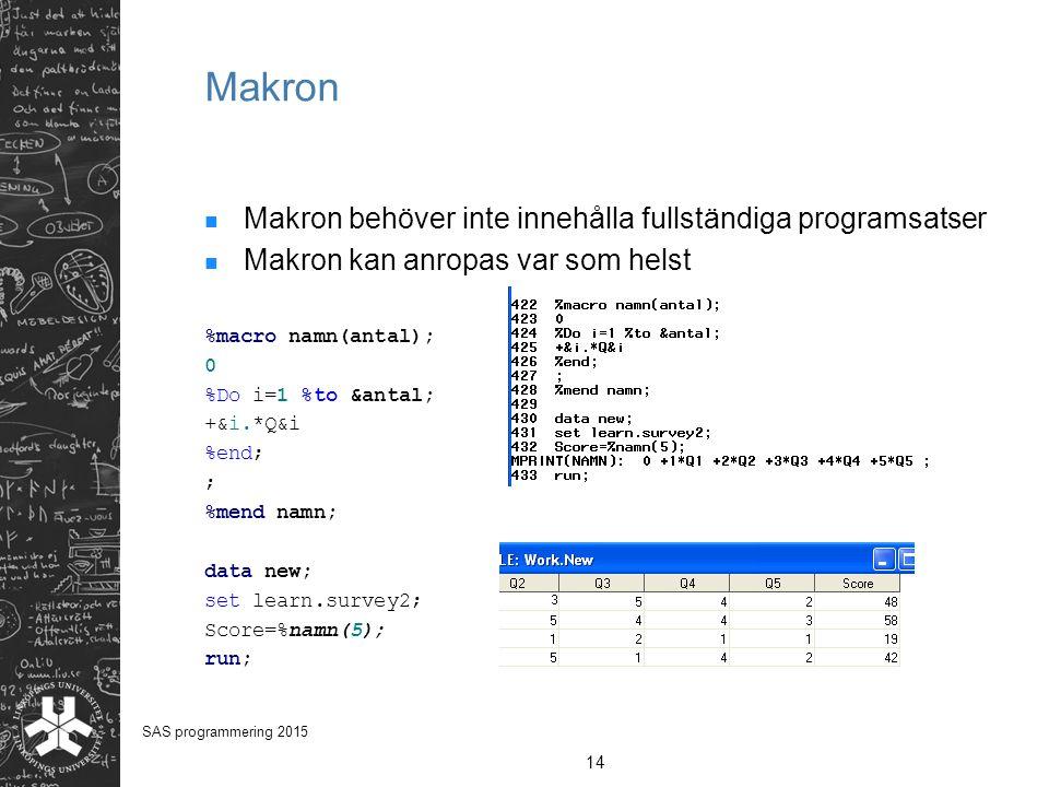 Makron Makron behöver inte innehålla fullständiga programsatser