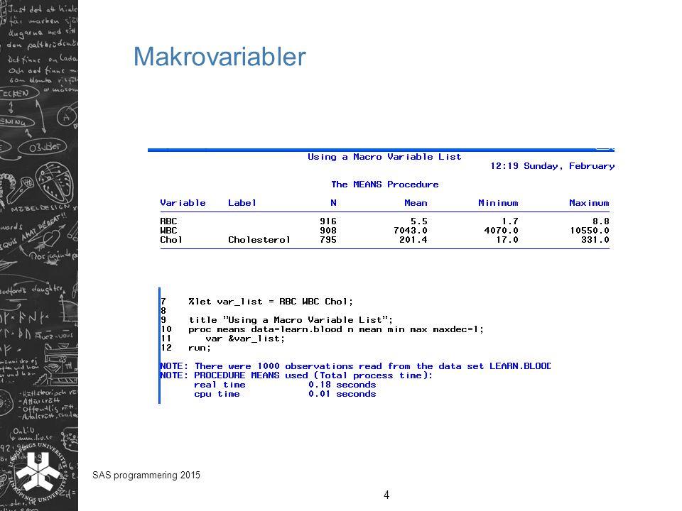 Makrovariabler SAS programmering 2015