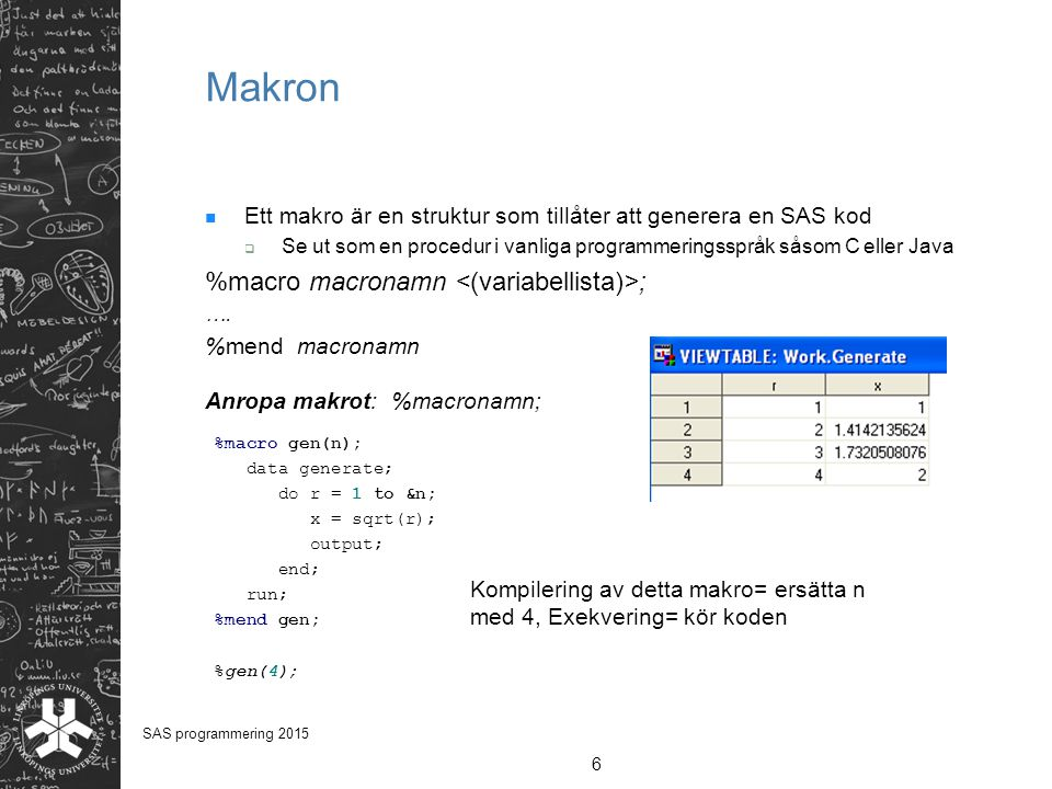 Makron %macro macronamn <(variabellista)>;