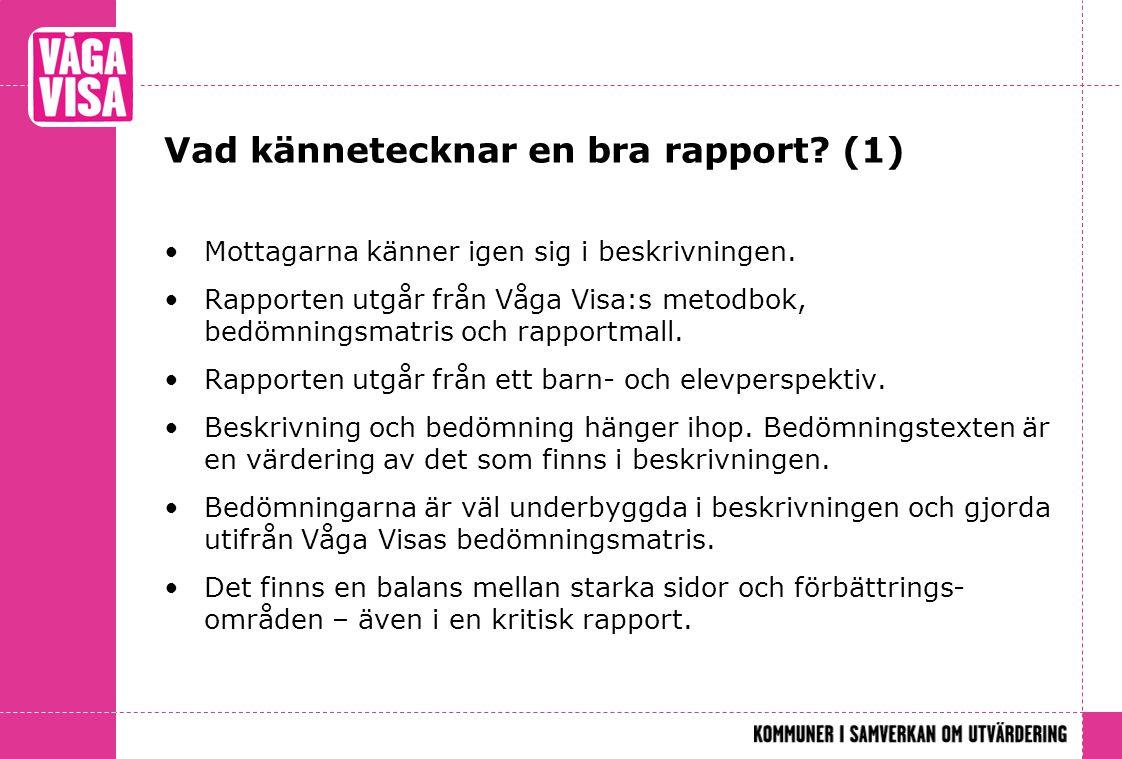 Vad kännetecknar en bra rapport (1)