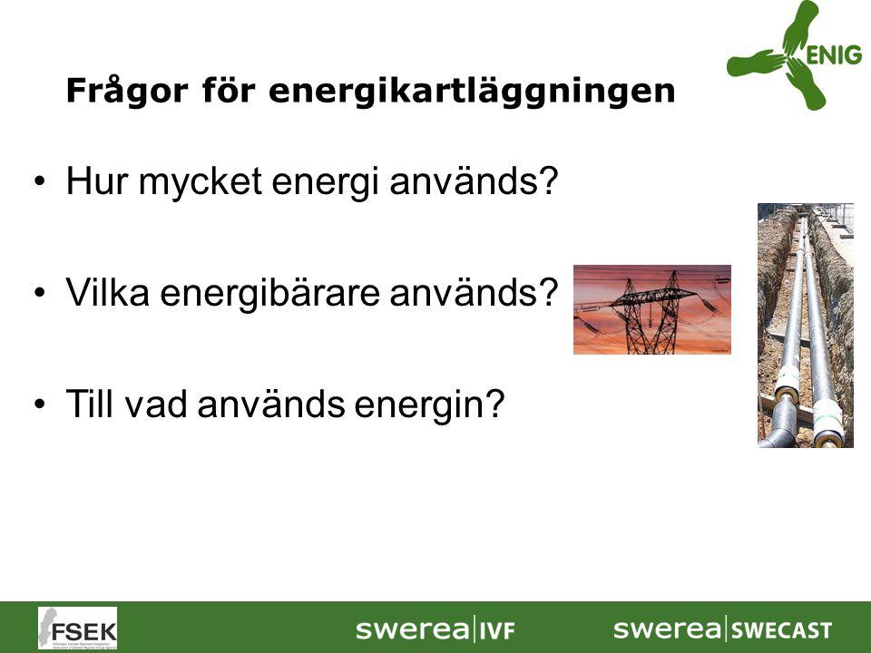 Hur mycket energi används Vilka energibärare används