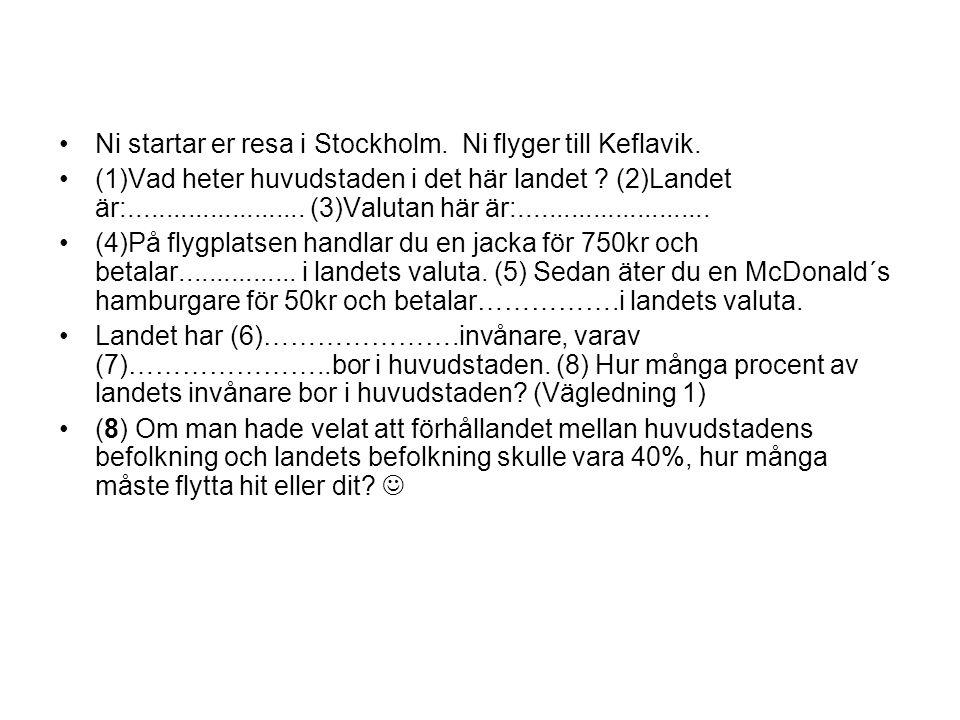 Ni startar er resa i Stockholm. Ni flyger till Keflavik.