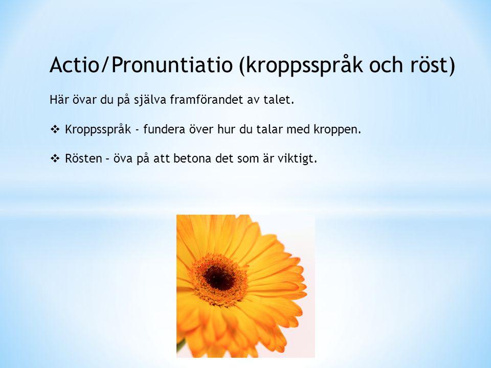 Actio/Pronuntiatio (kroppsspråk och röst)