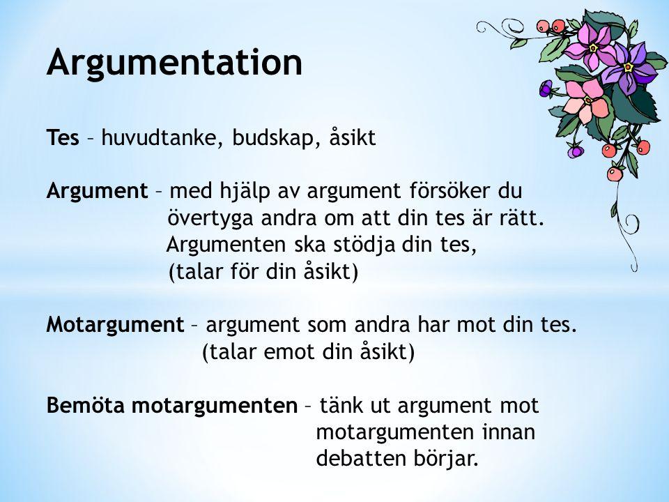 Argumentation Tes – huvudtanke, budskap, åsikt