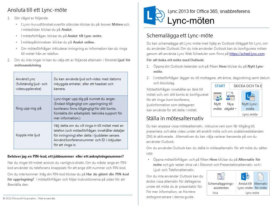 Lync-möten Ansluta till ett Lync-möte Schemalägga ett Lync-möte