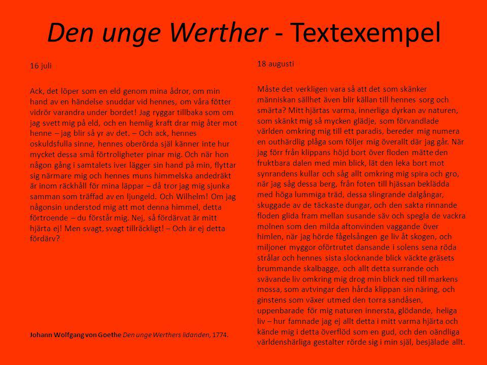 Den unge Werther - Textexempel
