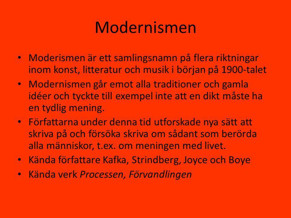 Modernismen Moderismen är ett samlingsnamn på flera riktningar inom konst, litteratur och musik i början på 1900-talet.