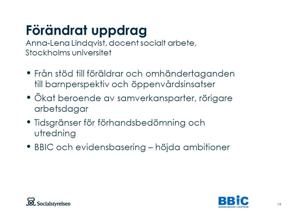 Förändrat uppdrag Anna-Lena Lindqvist, docent socialt arbete, Stockholms universitet