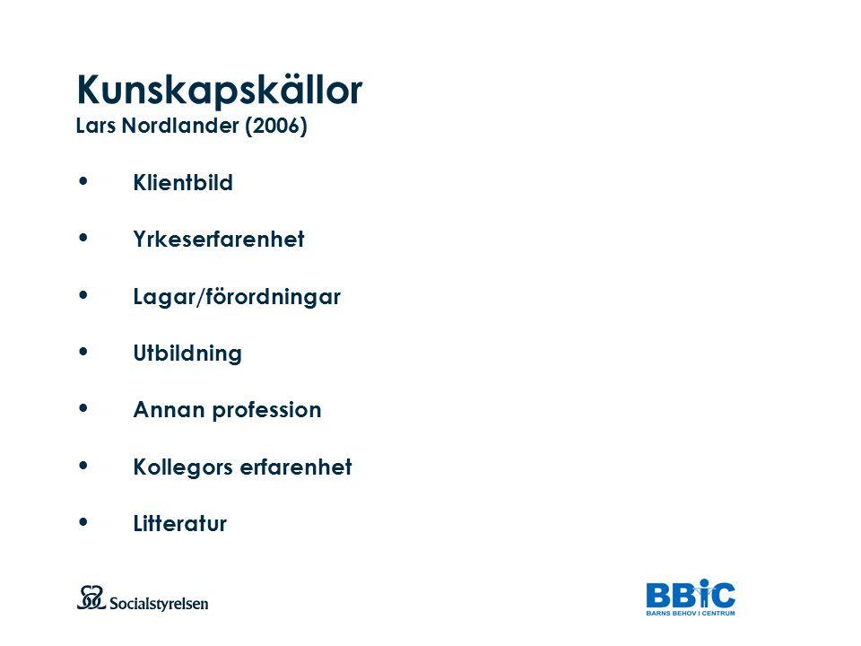 Kunskapskällor Lars Nordlander (2006)
