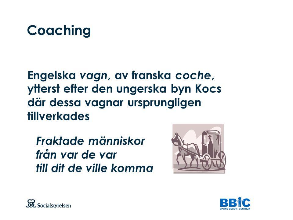 Coaching Engelska vagn, av franska coche, ytterst efter den ungerska byn Kocs där dessa vagnar ursprungligen tillverkades.