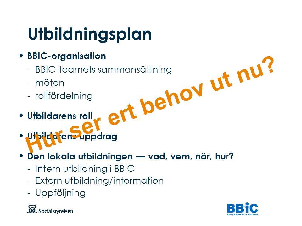 Hur ser ert behov ut nu Utbildningsplan BBIC-organisation