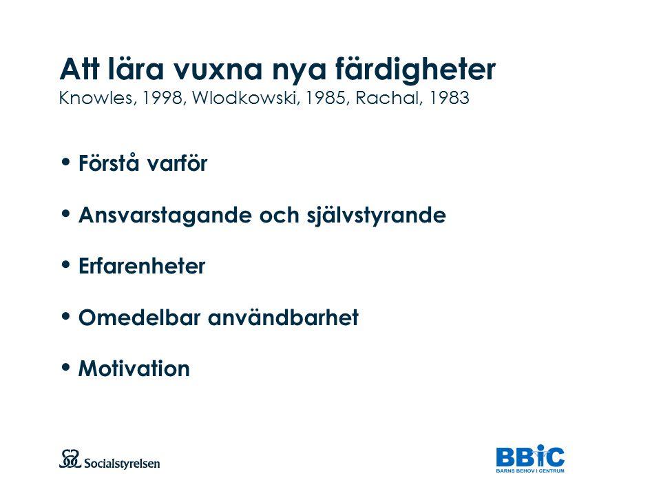 Att lära vuxna nya färdigheter Knowles, 1998, Wlodkowski, 1985, Rachal, 1983