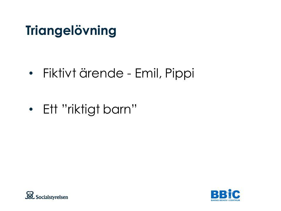 Triangelövning Fiktivt ärende - Emil, Pippi Ett riktigt barn