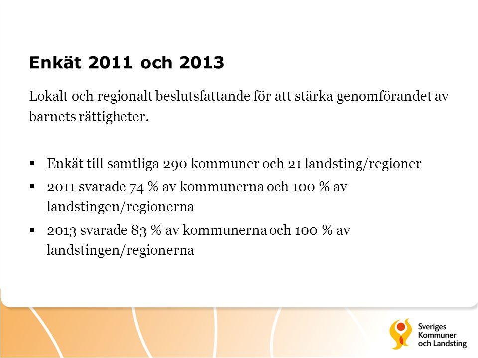 Enkät 2011 och 2013 Lokalt och regionalt beslutsfattande för att stärka genomförandet av barnets rättigheter.