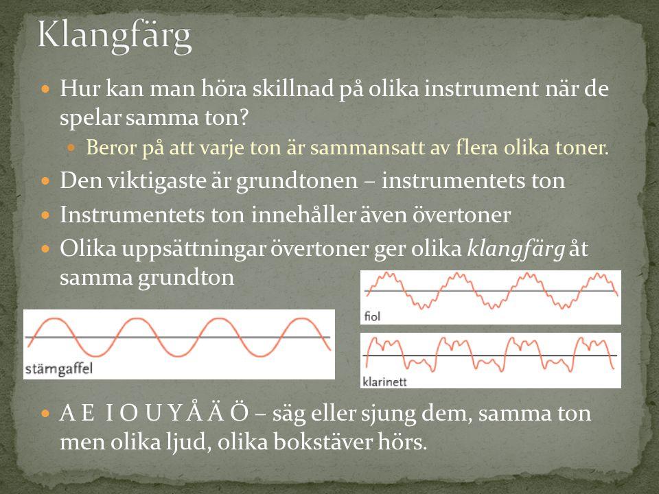 Klangfärg Hur kan man höra skillnad på olika instrument när de spelar samma ton Beror på att varje ton är sammansatt av flera olika toner.