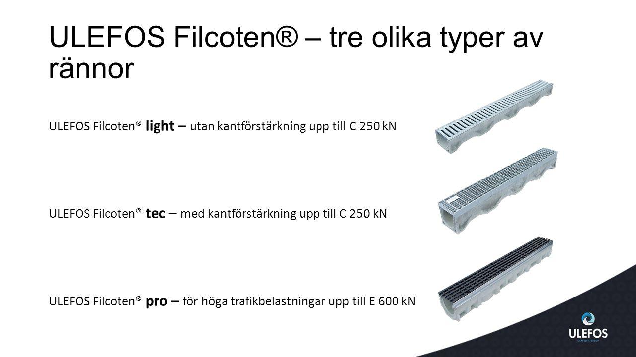 ULEFOS Filcoten® – tre olika typer av rännor