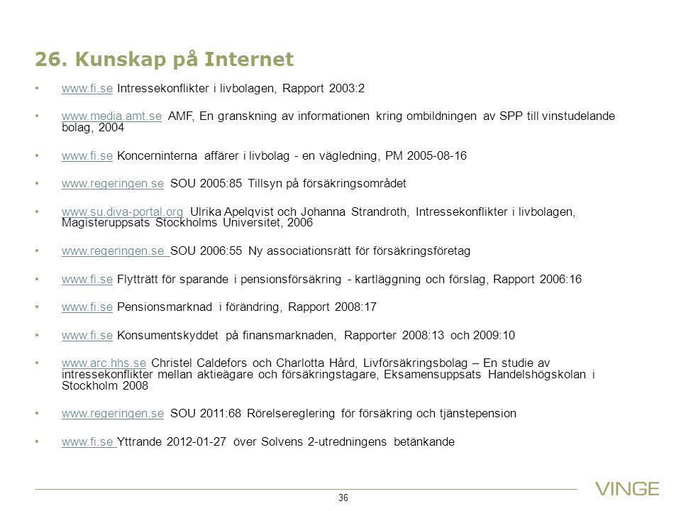 26. Kunskap på Internet www.fi.se Intressekonflikter i livbolagen, Rapport 2003:2.