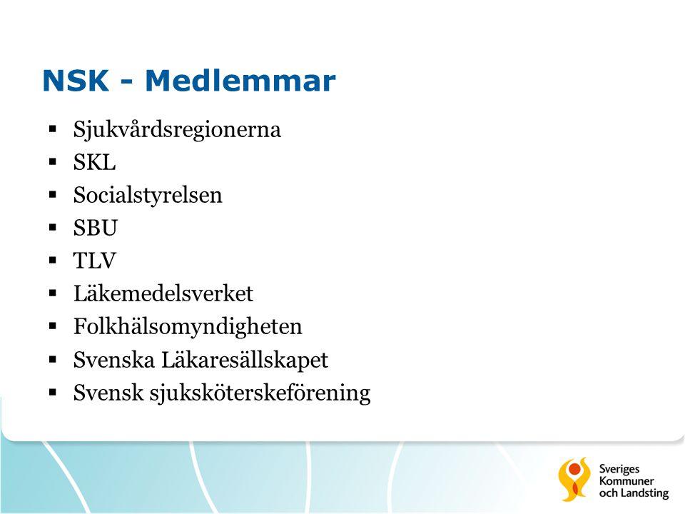 NSK - Medlemmar Sjukvårdsregionerna SKL Socialstyrelsen SBU TLV