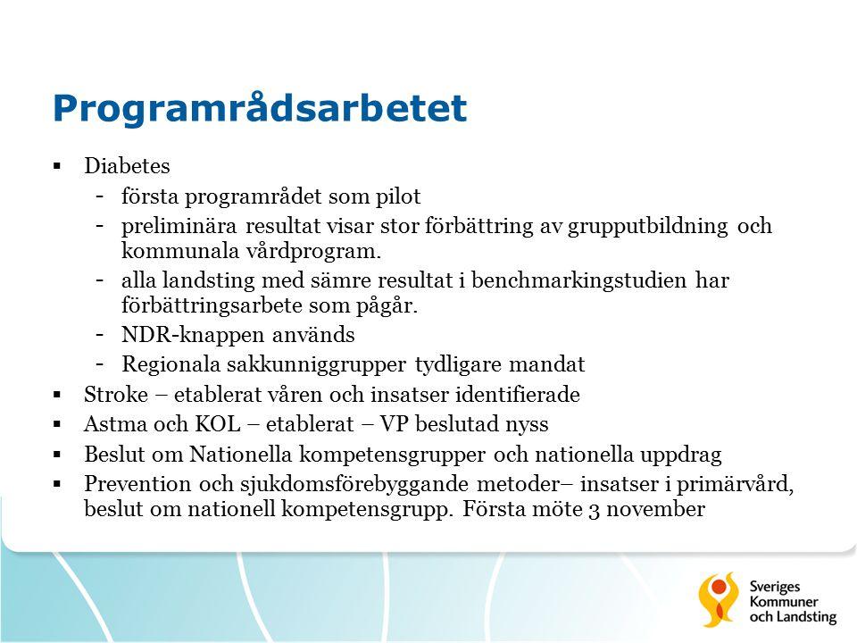 Programrådsarbetet Diabetes första programrådet som pilot